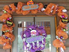 Halloween Mesh Wreath and Garland by southernchicbyle on Etsy, $110.00