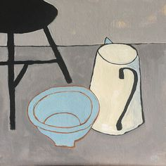 Jug, bowl & stool by Neil Giles Picasso Art, Blue Horse, Painting Still Life, Illustration Sketches, Twists, Figurative Art, Gouache, Painting & Drawing, Design Art