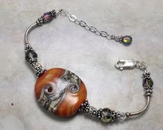 Rich, Pumpkin Curve Bracelet Lampwork Beads, Washer Necklace, Swarovski Crystals, Glass Art, Glass Beads, Vintage Jewelry, Artisan, Pumpkin, Bracelets