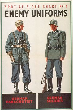 British WWII poster for the civilian population, how to spot Enemy Uniforms