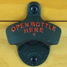 Dark Green OPEN BOTTLE HERE Starr X Wall Mount Bottle Opener Powder Coated NEW!