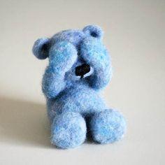 FROSTI - handmade blue teddy-bear, ooak woollen needle-felted shy little friend…