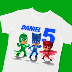 894422d7655 PJ Masks Birthday Tee. Birthday T-Shirt. Personalized with Name   Age. 1st  2nd 3rd 4th 6th Birthday