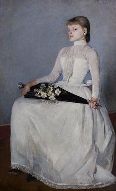 From a walk or A lady in white dress by Olga Boznańska, 1889 (PD-art/70), Muzeum Narodowe w Krakowie (MNK)