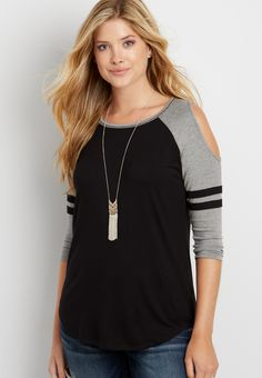 the 24/7 striped baseball tee with cold shoulders (original price, $24.00) available at #Maurices