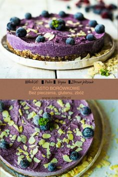 Borówkowe ciasto bez pieczenia (paleo, bez glutenu, bez cukru) - Vegan Cheesecake, Vegan Cake, Paleo Recipes, Cooking Recipes, Paleo Food, Healthy Cooking, Healthy Food, Raw Vegan, Granola