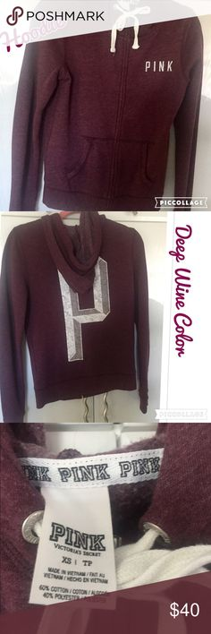 VS Pink Deep Cranberry Hoodie VS PINK Deep Cranberry color Hoodie. Hoodie has Pink written on left side in white letters. Back has a large P with hood. In excellent condition PINK Victoria's Secret Tops Sweatshirts & Hoodies