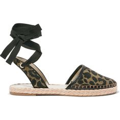 Sophia Webster Juana leather-trimmed jacquard espadrilles (405 NZD) ❤ liked on Polyvore featuring shoes, sandals, animal print, pink sandals, tie shoes, espadrilles shoes, black and gold shoes and leopard shoes