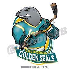 Retro California Golden Seals courtesy of that great cartoonist Nhl Logos, Hockey Logos, Sports Logos, Mlb Teams, Basketball Teams, Sports Teams, Hockey Games, Funny Hockey, Team Mascots