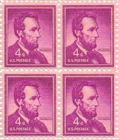 #1036 - 1954 4c Abraham Lincoln U.S. Postage Stamp Plate Block (4) by U.S. Mail. $0.25. VINTAGE STAMP FEATURING HONEST ABE 0.04c  COLLECTOR'S ITEM, RARE STAMP
