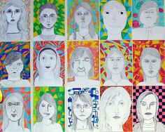 Portrait ideas for older kids. My students loved this project! AM