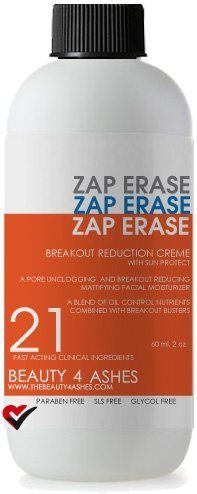 Breakout Reduction Creme by Zap Erase. $24.99. Control oiliness, but keep a even and perfectly clear complexion. Uses Beta Glucan, Aloe Vera, Mint and more. Fights blemishes and the cycle of acne. Mattifies. Reduces a greasy look while also keeping skin hydrated. A great moisturizer for oily skin. Includes sun defense.  Product Size:  2 ounces