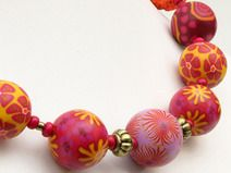 polymer clay necklace, fimo beads,susan.polymer