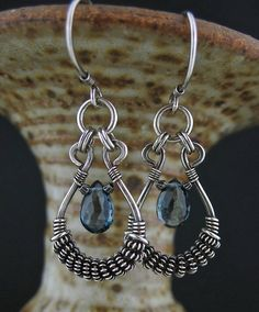 Blue Topaz Wire Wrapped Antiqued Silver Earrings Blue