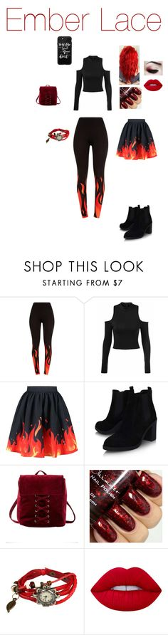 """Ember Lace"" by dragonheartse on Polyvore featuring Topshop, Charlotte Russe, Lime Crime and Casetify"