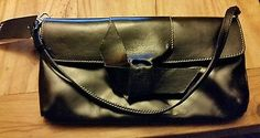 Prüne Luxury Leather ARGENTINIAN DESIGNER Bag Black w/white stitching NWT