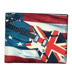 British Flag on Guitar & American Flag Outside Men's Black Leather Wallet #YaaliLimited #Bifold