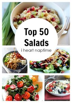 Top 50 Salads - Happy New Year! I am starting my new year with adding more fruits and veggies to my my meals, and these salads are the perfect fit!: