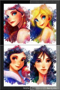 The girls by nyamuneko.deviantart.com on @DeviantArt - Ariel, Tinkerbell, Snow White, and Mulan