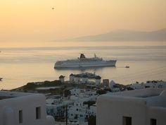 Chora, View, Mykonos, Greece Mykonos Greece, Seattle Skyline, Most Beautiful, Island, World, Travel, Viajes, Islands, Destinations