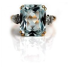 5.50 Carat Victorian Square Cut Aquamarine Ring in 14 Kt Two Tone Gold #weddings