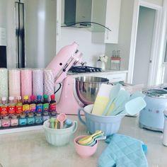 My pastel kitchen accessories, ready for baking accessories organization Kitchen Island Decor, Kitchen Decor Themes, Kitchen Cabinet Colors, Kitchen Items, Kitchen Colors, Home Decor, Kitchen Organization Pantry, Kitchen Storage, Home Organization