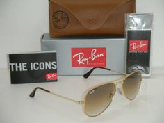 RAY BAN Aviator Sunglasses Gold Frame Rb 3025 001/51 Gradient Brown 58mm