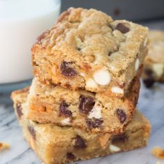 In between a blondie & a cookie – these Triple Chip Cookie Bars are fudgy, chewy, filled with chocolate chips