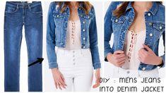 DIY Men's Old Jeans into Jacket / Recycle/Reuse Old jeans Old Man Jeans, Diy Old Jeans, Recycle Jeans, Men's Jeans, Reuse Old Clothes, Diy Clothes, Sewing Jeans, Girls Denim Jacket, Recycled Denim