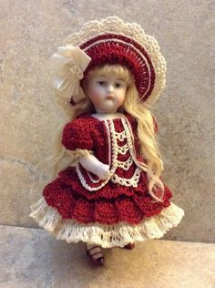 "VICTORIAN STYLE CROCHETED DRESS SET FOR 5""- 5 1/2"" ALL BISQUE DOLL* by Tina"
