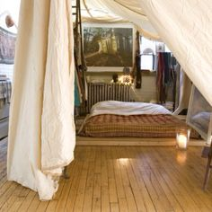 Put the bedroom under a gigantic canopy those 22 Brilliant Ideas Are For Your Tiny Apartment to make it even more perfect and cosy Style At Home, Boho Chic Bedroom, Bedroom Decor, Tent Bedroom, Outdoor Bedroom, Bed Tent, Bedroom Ideas, Bedroom Designs, Dream Bedroom