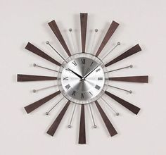 George Nelson Midcentury Modern Style Wood and Metal Spindle Clock