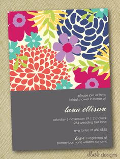 DIY floral bridal shower invite custom printable by ellieohdesigns, $15.00