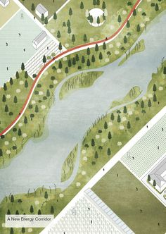 Image 3 of 21 from gallery of Tirana Watch How Nature and Urbanism Will Co-Exist in the Albanian Capital. Aerial view of the city centre masterplan. Image Courtesy of Attu Studio Landscape Architecture Design, Architecture Visualization, Architecture Graphics, Architecture Drawings, Architecture Plan, Landscape Diagram, Landscape Plans, Urban Landscape, Landscape Bricks