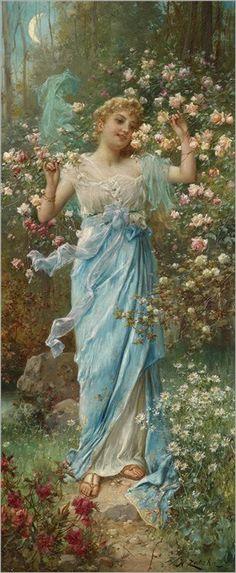 """Dancing Amongst the Flowers"" is a beautiful artwork by Hans Zatzka, Victorian Paintings, Victorian Art, Vintage Prints, Vintage Art, Renaissance Kunst, Illustration, Classical Art, Old Art, Beautiful Paintings"