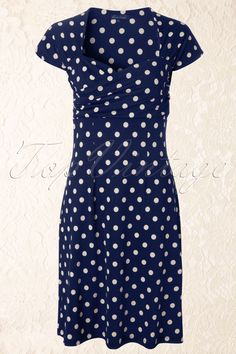 King Louie - 50s Ballroom Dress Polkadot in Blue