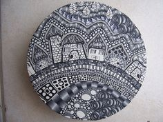 Polymer clay Zentangle by JVDBeads ... not drawing -- all cane work!