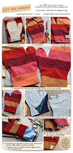 felt upcycled mittens tutorial