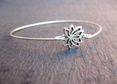 Silver Lotus Blossom Bangle Bracelet, Lotus Bracelet, Yoga Jewelry, Charm Bracelets, Meditation Bracelet, 7 Chakra Bracelet, Wish Bracelet by MagnoliaCharmsShop on Etsy