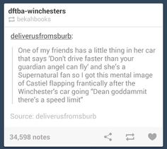 Cas and Dean and the Impala OMG I laughed so hard at this!