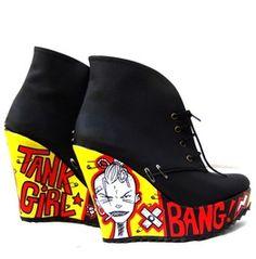 Tank Girl Bang! Lace Up Platform Booties Shoes Riot Grrrl, Comic, Diy, Punk Rock Style Custom Painted