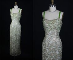1950s 50s Elegant BEADED Metallic Chiffon Cocktail Party Dress Evening Gown