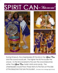 "If doing a sports party theme, decorate a trash can and fill it with give away items to be used as party favors - or while watching the ""game"" on t.: dynamic stretching for cheer Cheerleading Spirit Gifts, Cheer Spirit, Cheer Stunts, Cheer Gifts, Cheerleading Signs, Cheerleading Crafts, Football Cheer, Cheer Camp, Cheer Coaches"