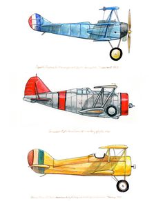 8x10 giclee print featuring three vintage airplanes in red, yellow and blue via Etsy