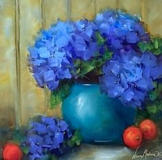 Oasis Blue Hydrangeas and a Hydrangea DVD - Flower Paintings by Nancy Medina, painting by artist Nancy Medina
