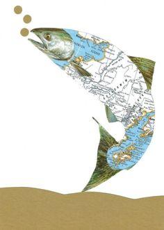 Original Collage on Paper Alaskan Salmon Fish Alaska by dadadreams, $30.00