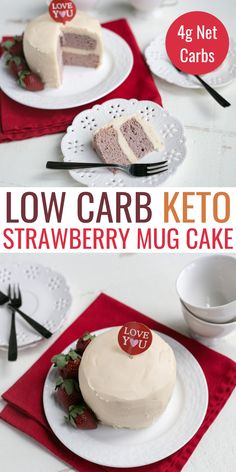 Looking for a simple, delicious dessert? This yummy paleo strawberry mug cake is low carb and whips up in the microwave in just a couple of minutes! Paleo Mug Cake, Keto Cake, Fast Low Carb, Low Carb Keto, Baking Recipes, Cake Recipes, Snack Recipes, Keto Desserts, Delicious Desserts