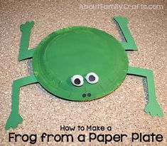 How to Make a Frog from Paper Plates - Follow along with this tutorial and learn how to make a cute frog using 2 paper plates and a few basic craft supplies. (http://aboutfamilycrafts.com/how-to-make-a-frog-from-paper-plates/)