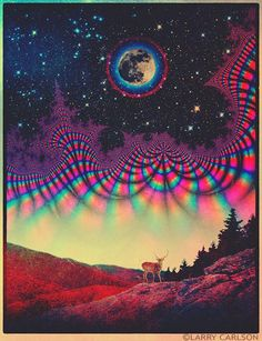Cosmic artwork on canvas by the master of visionary art LARRY CARLSON.This product is hand made and made on-demand. Expect delivery to US in business days (international business days). Full Buck Moon, Psychedelic Drawings, Psy Art, Visionary Art, Moon Art, Optical Illusions, Three Dimensional, Canvas Art Prints, Vibrant Colors