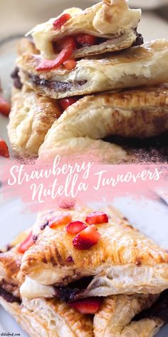 This easy chocolate turnover recipe is filled with strawberries and Nutella to make the perfect breakfast, brunch, or dessert! These Strawberry Nutella Turnovers are simple, delish, and chocolatey. Puff Pastry Recipes Savory, Easy Puff Pastry Recipe, Nutella Puff Pastry, Puff Pastry Desserts, Chocolate Pastry, Chocolate Hazelnut, Fruit Pastry Recipes, Strawberry Puff Pastry, Quinoa Burger